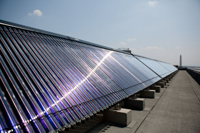 A solar water heating system on a roof in Washington, DC.