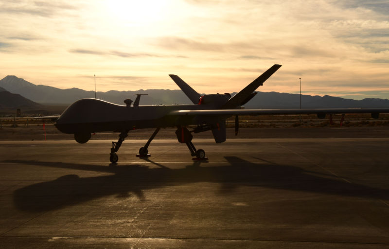 A US Air Force MQ-9 Reaper awaits maintenance December 8, 2016, at Creech Air Force Base, Nevada. Training materials for the Reaper Aircraft Maintenance Unit were stolen by a hacker exploiting a Netgear router.