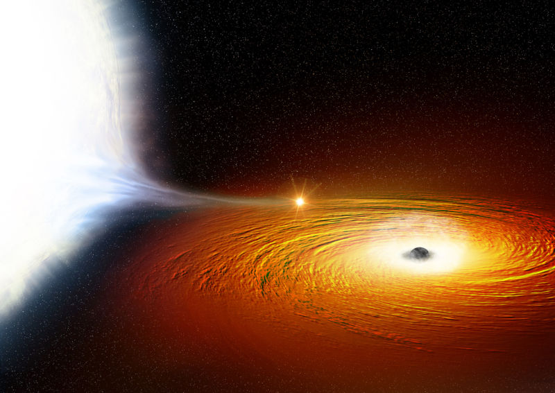 Artist's conception of the black hole in 47 Tucanae X9 siphoning matter off the white dwarf.