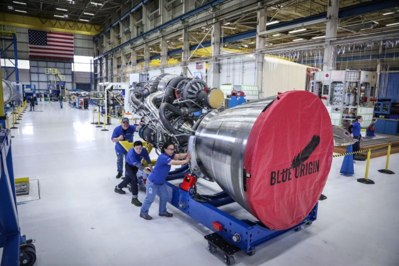 A Blue Origin BE-4 engine at the company's Kent, Washington-based factory is readied for transport to a test stand for full-scale testing.