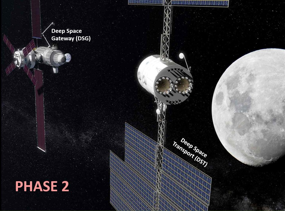 The Deep Space Transport shown in cislunar space.