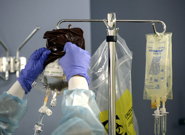 The setup for a more traditional chemotherapy session from 2013.