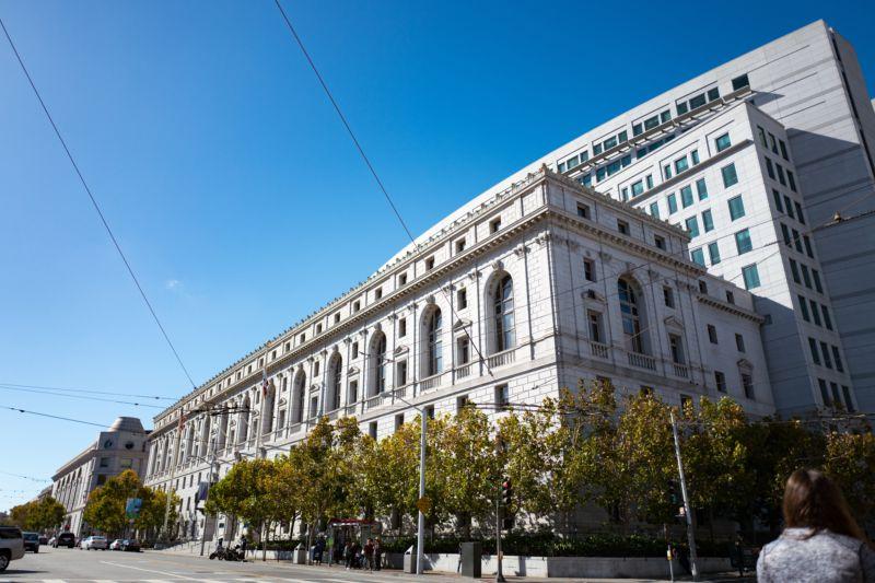 Facade of the Supreme Court of California, as seen on October 2, 2016.