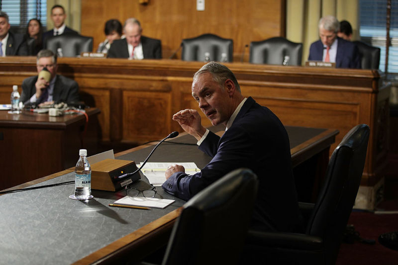 WASHINGTON, DC - JANUARY 17:  U.S. Secretary of Interior nominee, Rep. Ryan Zinke (R-Mont.), testifies during his confirmation hearing before Senate Energy and Natural Resources Committee January 17, 2017 on Capitol Hill in Washington, DC. The former Navy SEAL commander is expected to face questions on whether federal government can transfer land to states or private ownership.