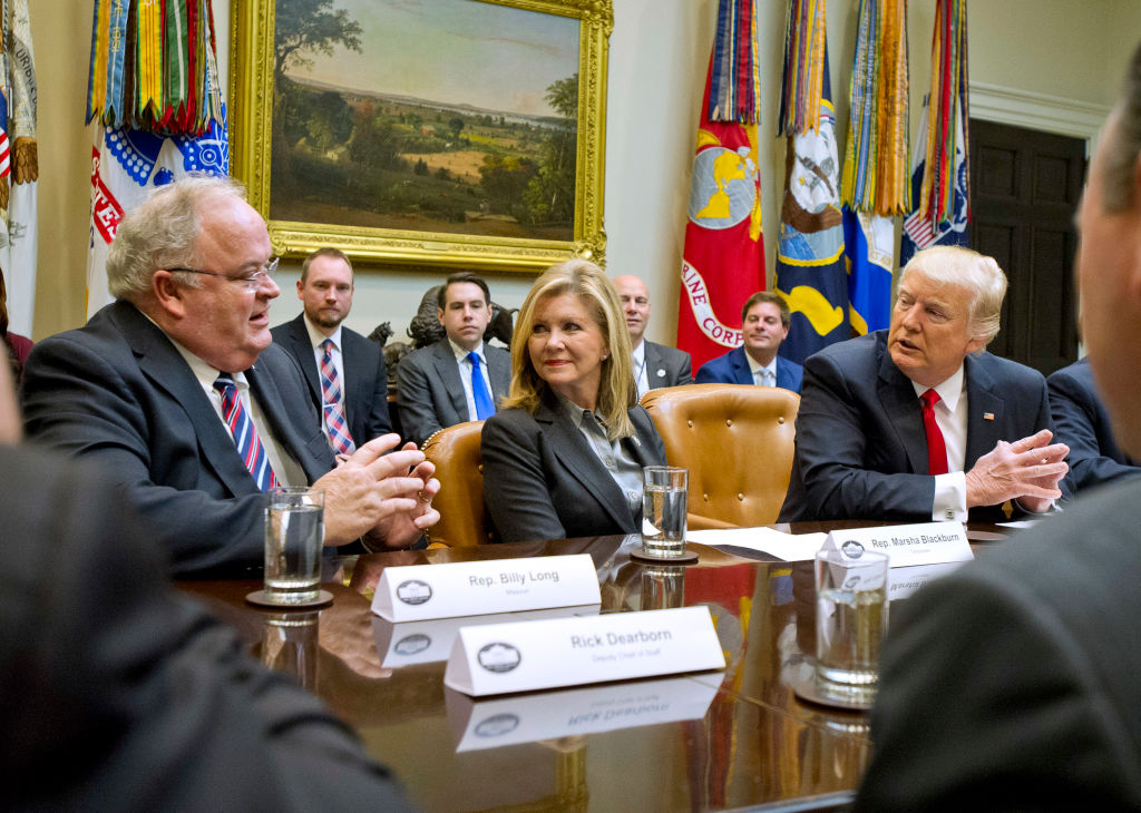 "During a recent ""Congressional listening session"" at the White House, Rep. Marsha Blackburn (R-Tenn.) got prime seating right next to President Donald Trump. Blackburn introduced the privacy bill to Congress, and broadband lobbying groups are thanking her after it passed."