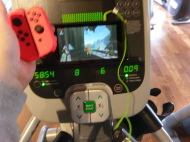 "I do not recommend taking a ""Switch on the elliptical"" photo while mid-jog. But I really wanted to prove that I was Zelda-ing while working out."