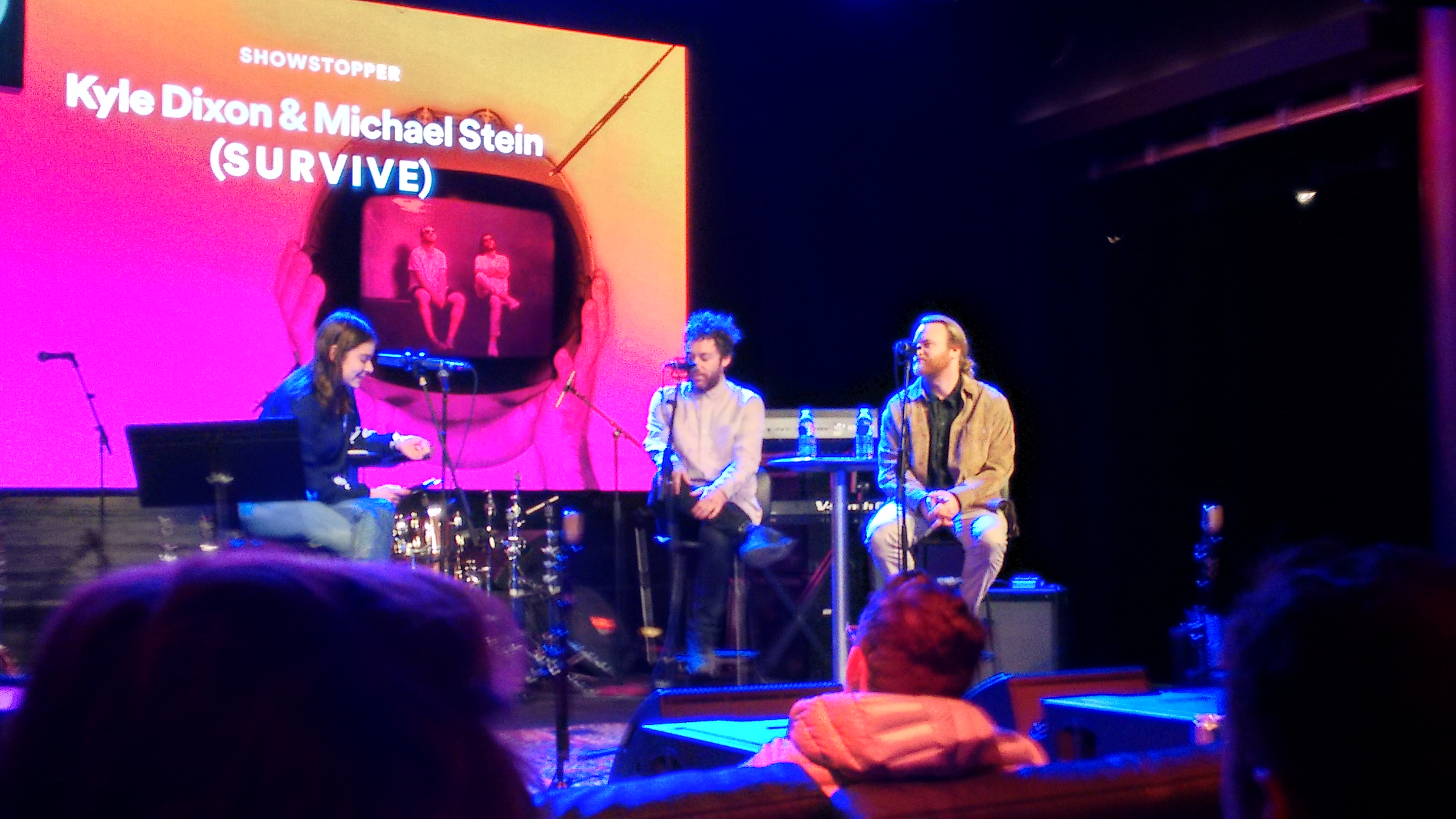 Michael Stein (far right) and Kyle Dixon of S U R V I V E / <em>Stranger Things</em> fame. (Spotify wouldn't allow cameras with detachable lenses during the taping; apologies on the Moto G 2014 image quality.)