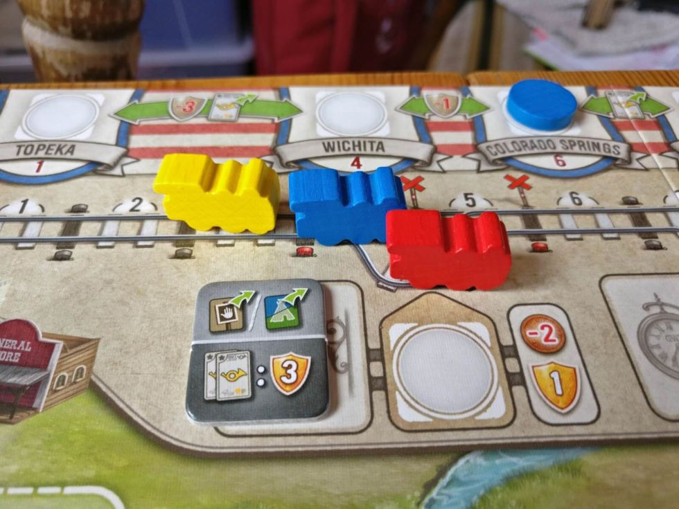 The trains in action. Send your cattle off to distant cities to score points.