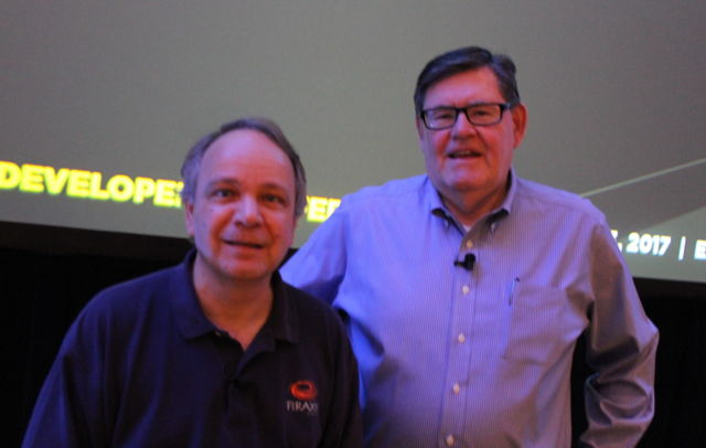Sid Meier (left) and Bruce Shelley appeared at GDC 2017 to reflect on the very first <em>Civilization</em> video game.