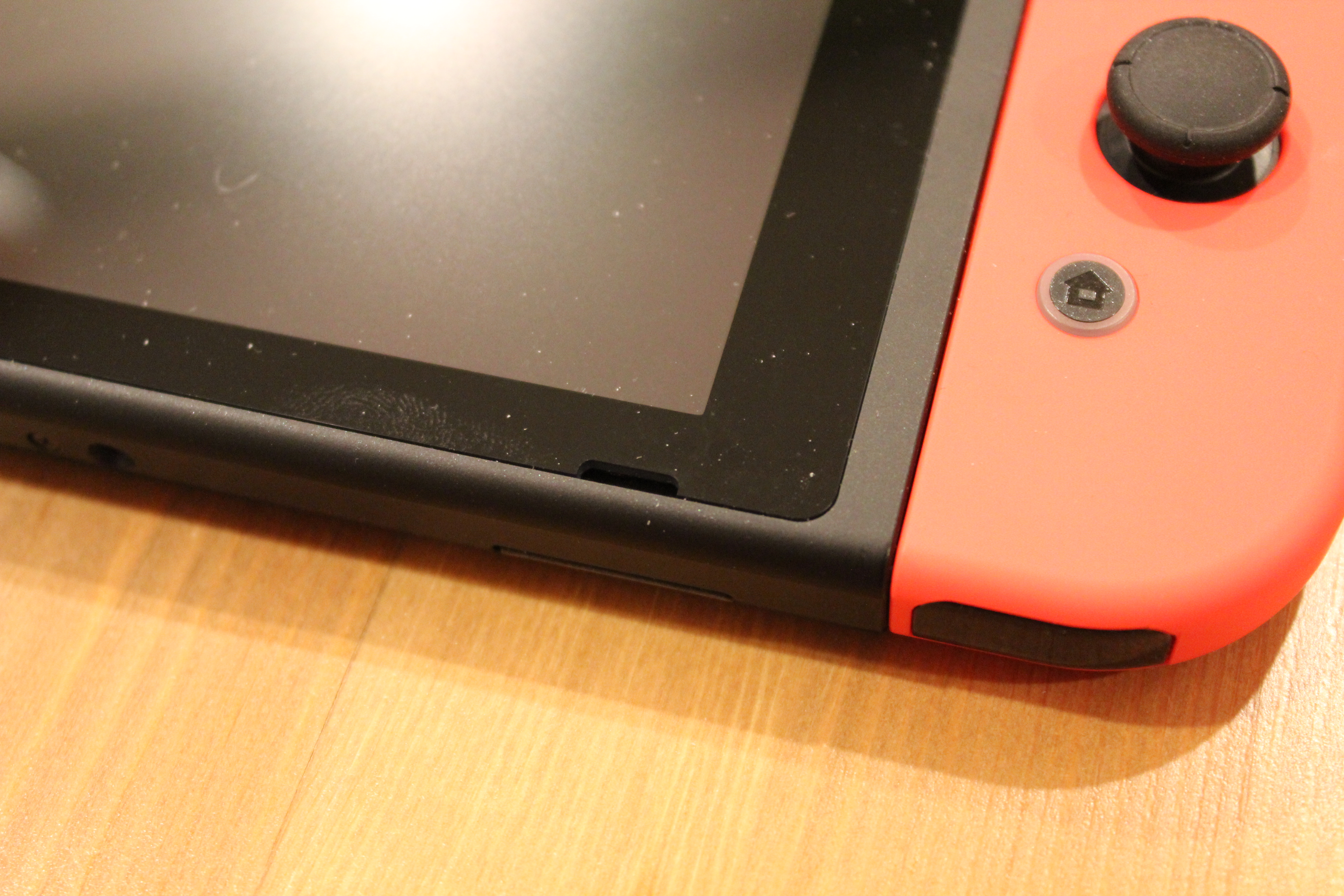 "This black slit in the Switch hardware is one of its two speakers. It's just not loud enough for public use, and it's certainly not designed to bounce sound off a surface when propped up in ""tablet"" mode."