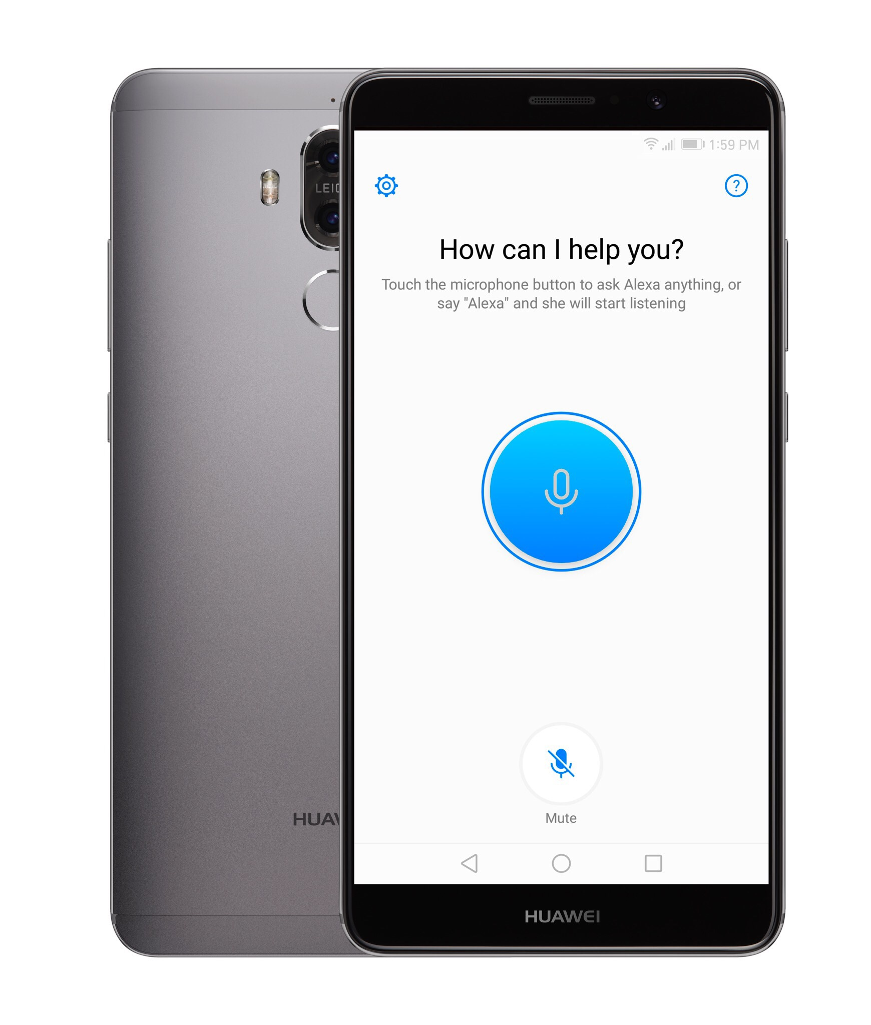 Huawei Alexa app ready to listen for a command.