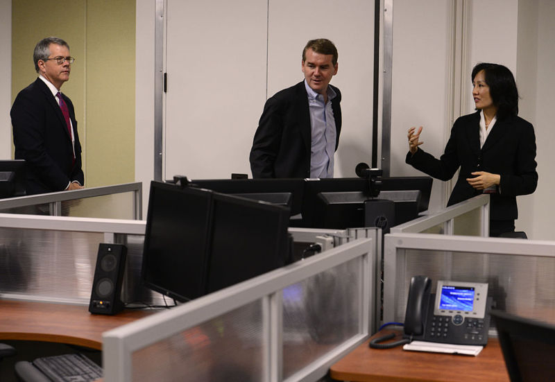USPTO Director Michelle Lee, at right, touring the Denver office in 2014. At that time, she was Deputy Director.