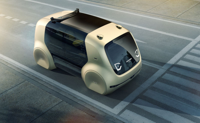 The self-driving car from the Volkswagen Group was developed for autonomous driving.