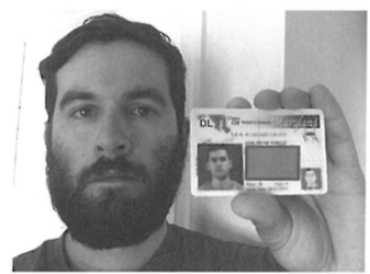 Rivello with driver's license.