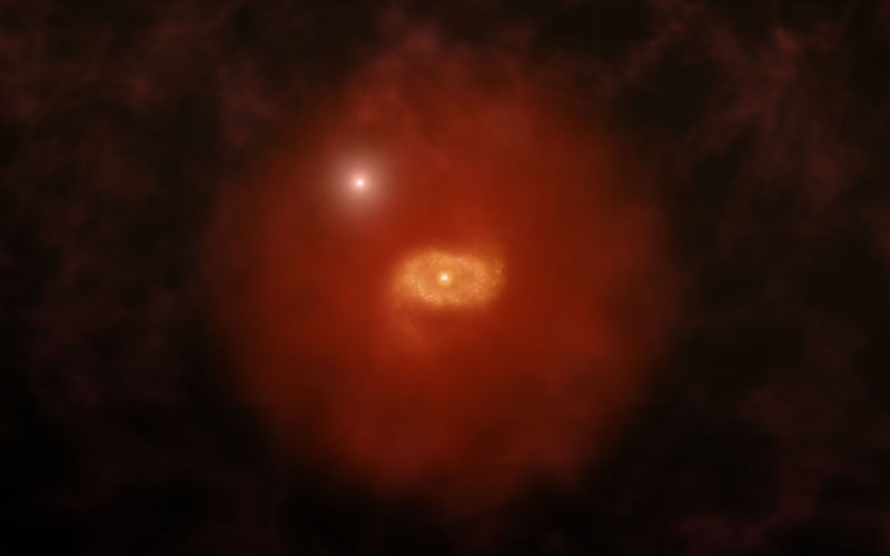 Artist's impression of a progenitor of galaxies like the Milky Way, seen when the Universe was only 1.5 billion years old. New observations reveal that these galaxies are surrounded by massive halos of hydrogen gas.