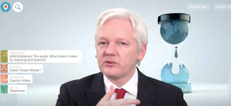 Julian Assange in his video press conference on Periscope on March 9.