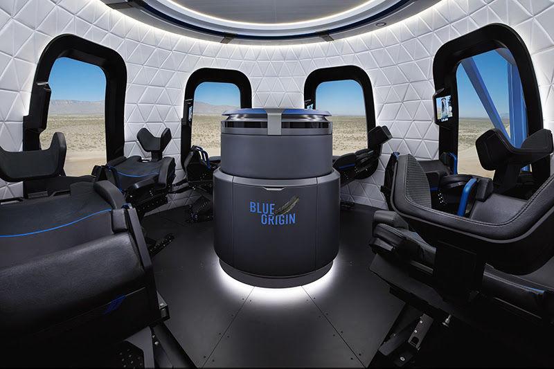 تصویر تبلیغاتی از فضای داخلی کپسول فضایی.