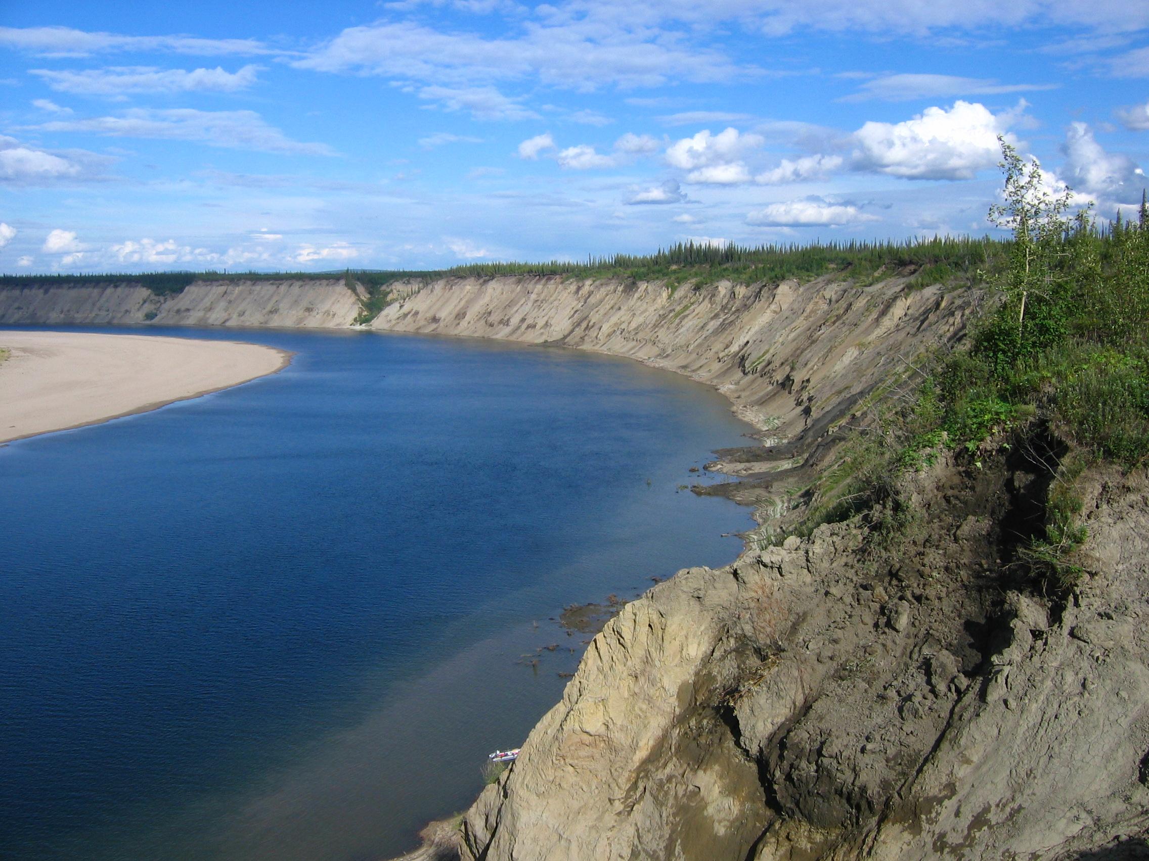 Ch'ijee's Bluff, where the 130,000-year-old bison bone was found.