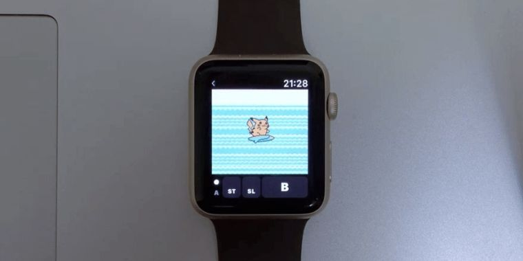 photo image Here's Pokémon Yellow running in a Game Boy emulator on the Apple Watch