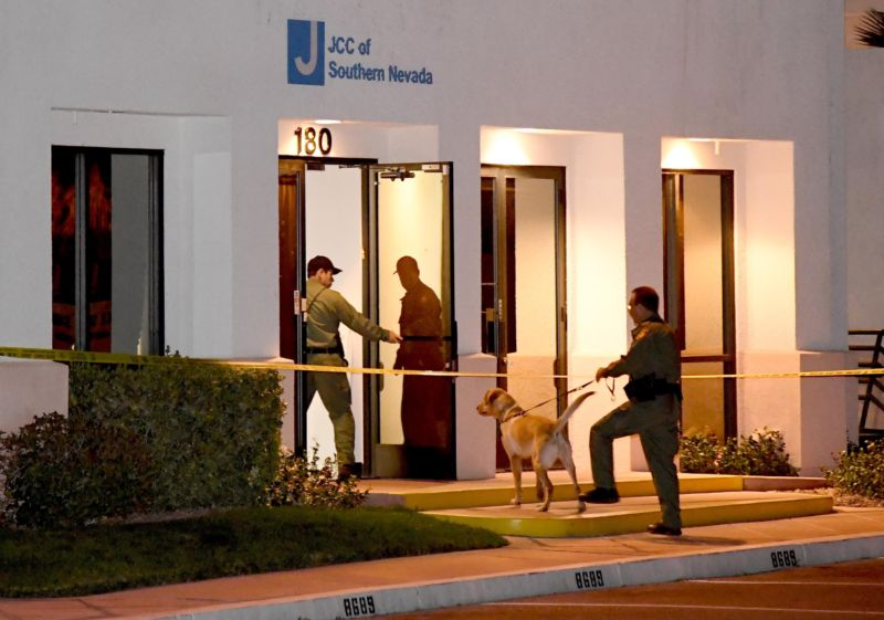 Las Vegas police search the Jewish Community Center of Southern Nevada after an employee received a suspicious phone call that led about 10 people to evacuate the building on February 27, 2017.
