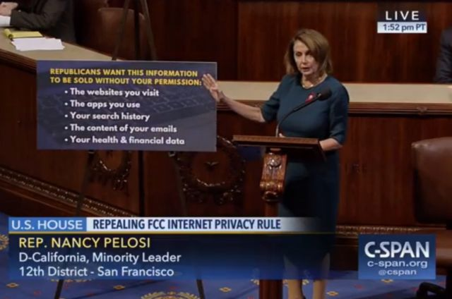 House Minority Leader Nancy Pelosi (D-Calif.) argues in support of online privacy rules today.