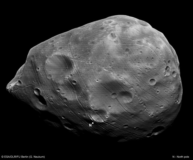 Phobos, shown in this image, had once been thought to have been an asteroid captured by Mars.