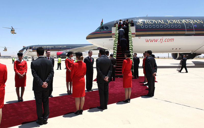 Flight attendants from Royal Jordanian attend a ceremony to induct two new Airbus jets in 2010.