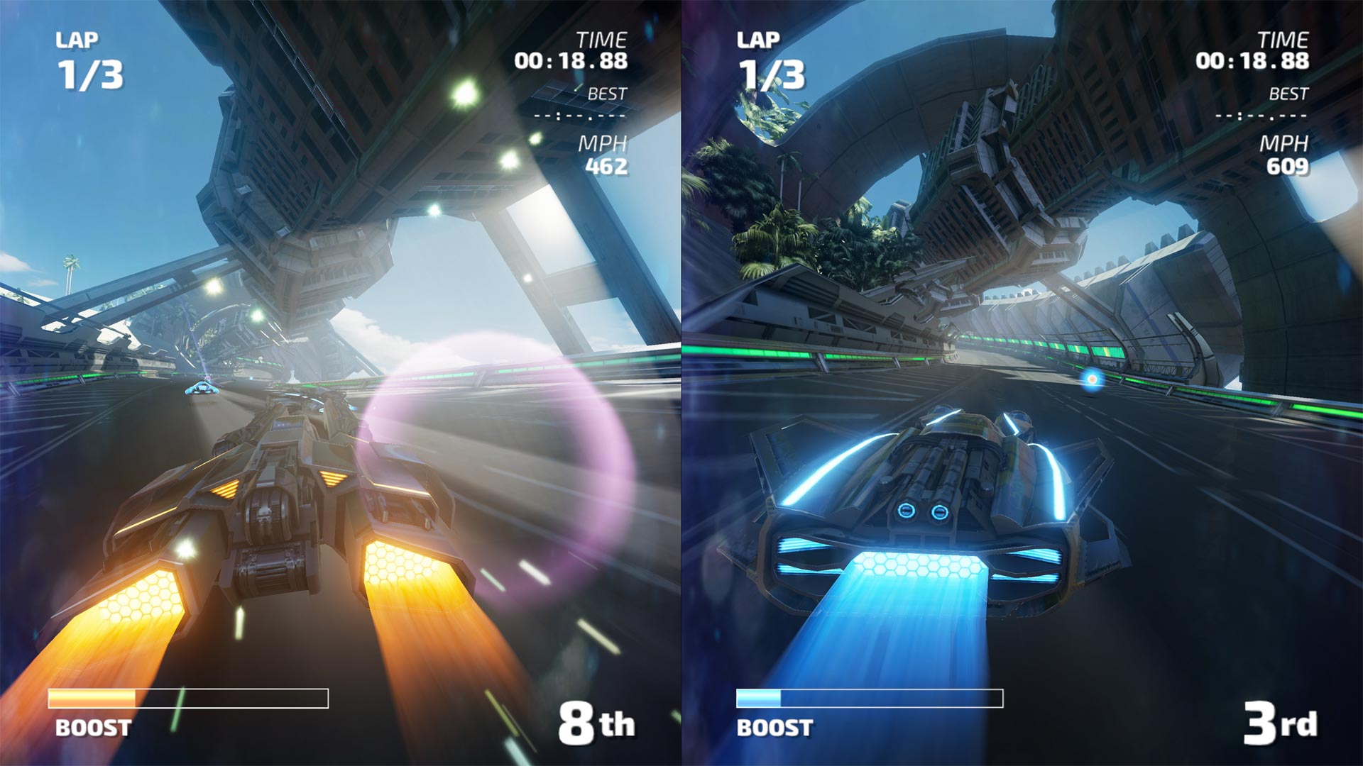 <em>Fast RMX</em> is a smooth, fun, fast racing game with pretty solid performance and only a few frame rate hiccups in portable mode. However, whether you like high-speed racing while splitting a 6.2-inch screen with someone else will be up to personal preference. (I was OK with it.)
