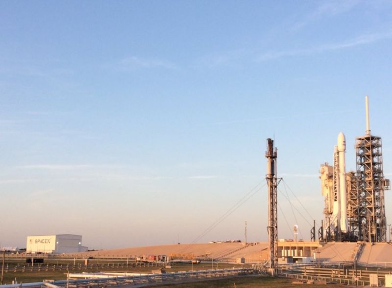 "The ""flight proven"" Falcon 9 rocket sits on the launch pad at Kennedy Space Center in Florida."
