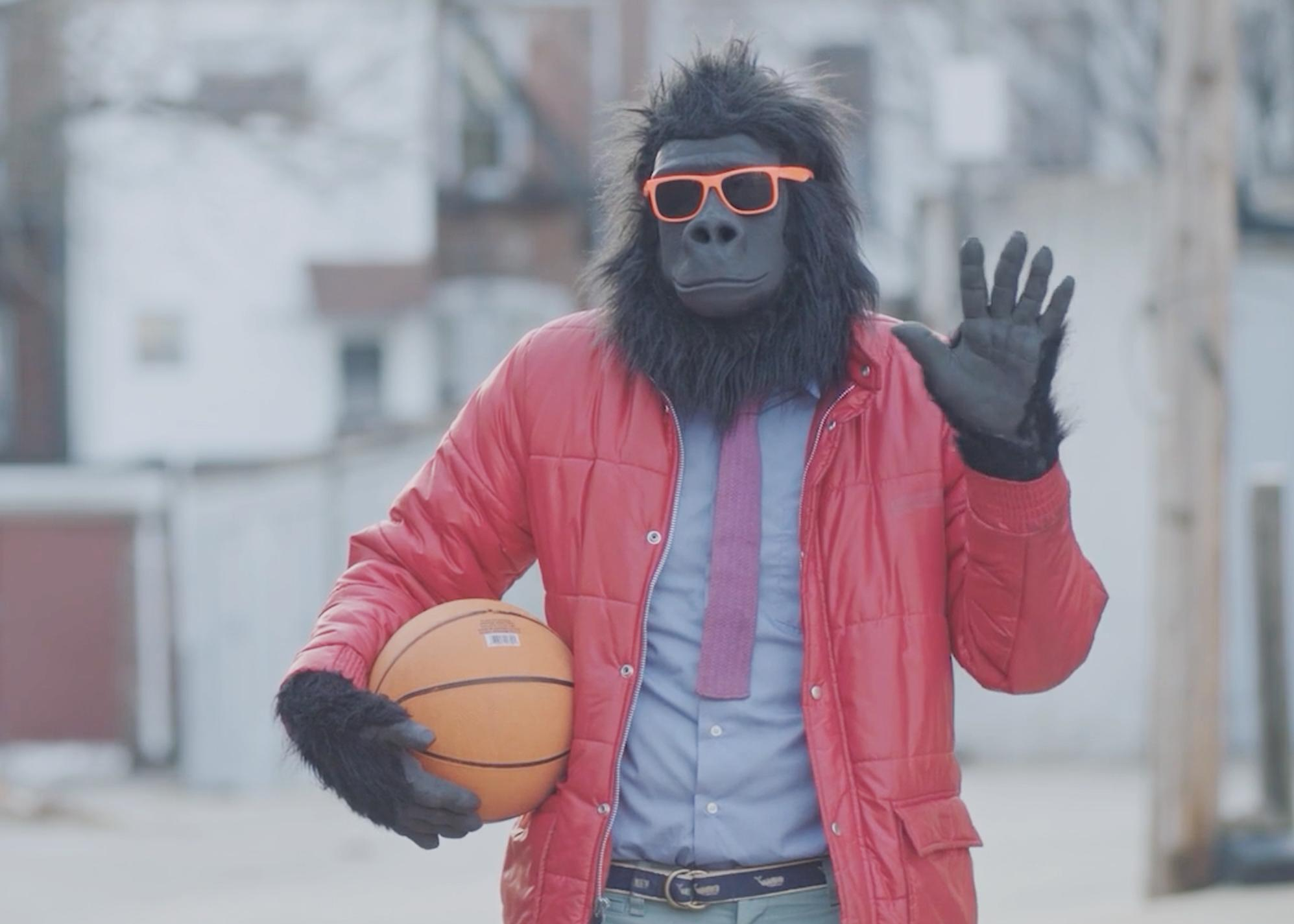 Meet Sylvio. He's a gorilla, so he doesn't talk. But he's a movie gorilla, so he wears cool clothes, maintains a job, likes hoops, etc.