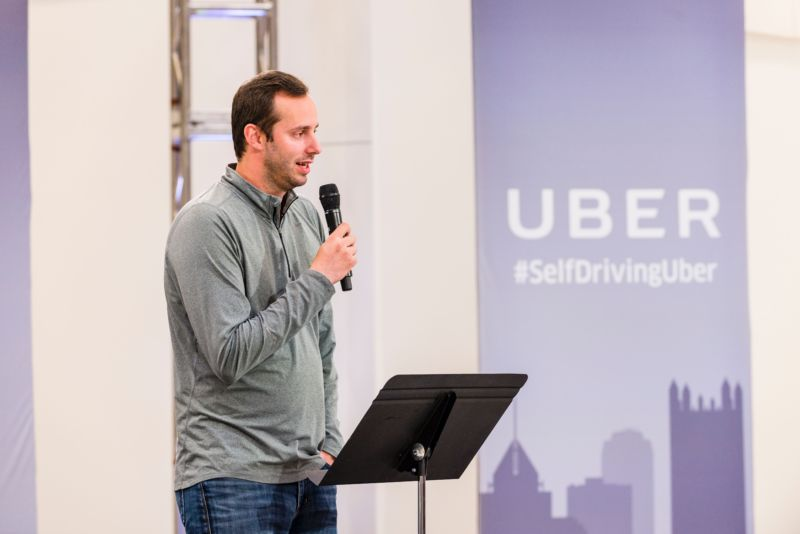 Anthony Levandowski, then-VP of engineering at Uber, in 2016. Levandowski co-founded self-driving truck startup Otto and then led Uber's self-driving technology efforts before being fired in 2017.