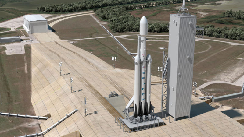 A Falcon Heavy rocket is shown at Pad 39A at Kennedy Space Center in this concept drawing.