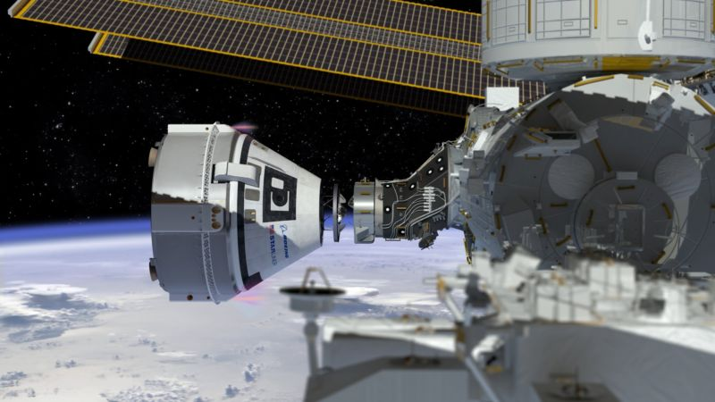 What a docking of Boeing's Starliner to the International Space Station will look like.