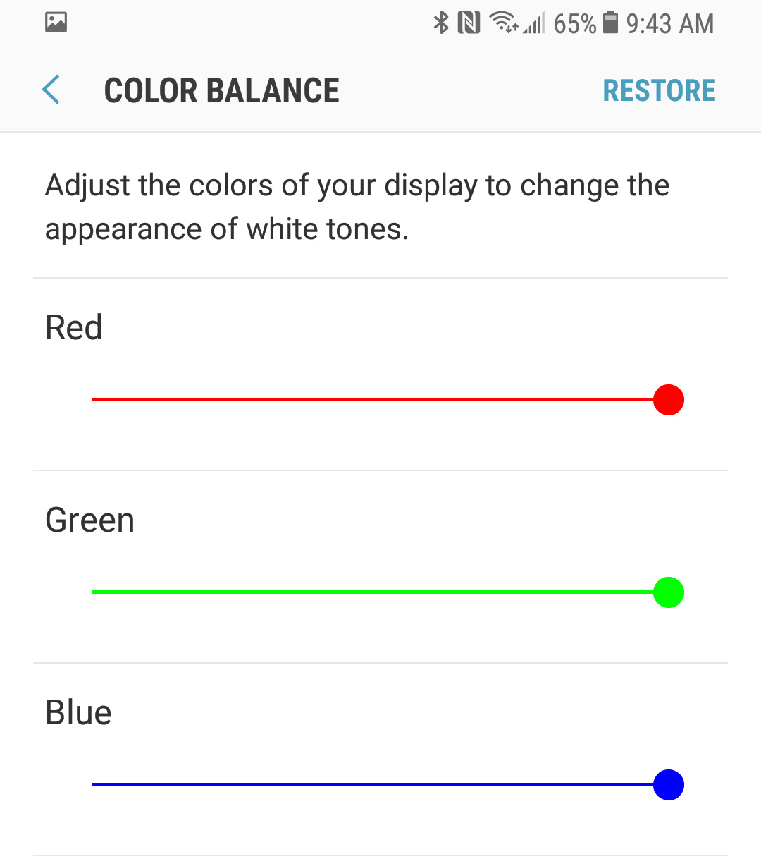 The Galaxy S8's existing white balance controls.