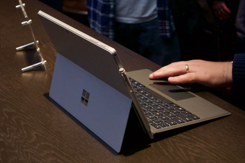 The Surface Pro 4 with its kickstand out.