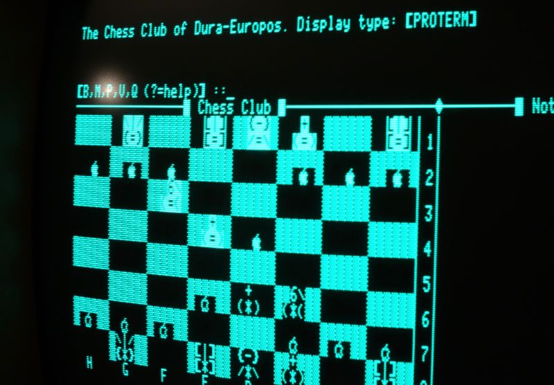 We'd like to imagine AlphaZero playing its chess within a 1980s' style BBS system.