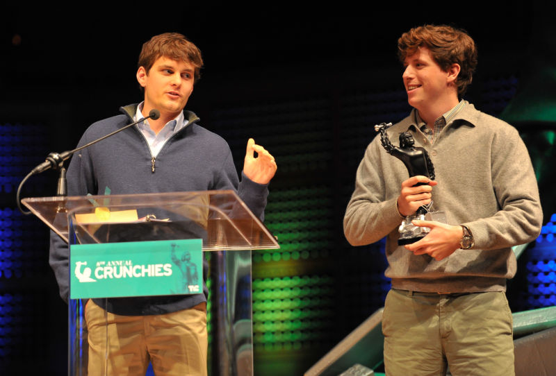 Tyler Droll, CEO of Yik Yak (L) and Brooks Buffington, COO, of Yik Yak, won the Fastest Rising Startup award at the TechCrunch 8th Annual Crunchies Awards at the Davies Symphony Hall on February 5, 2015 in San Francisco, California.