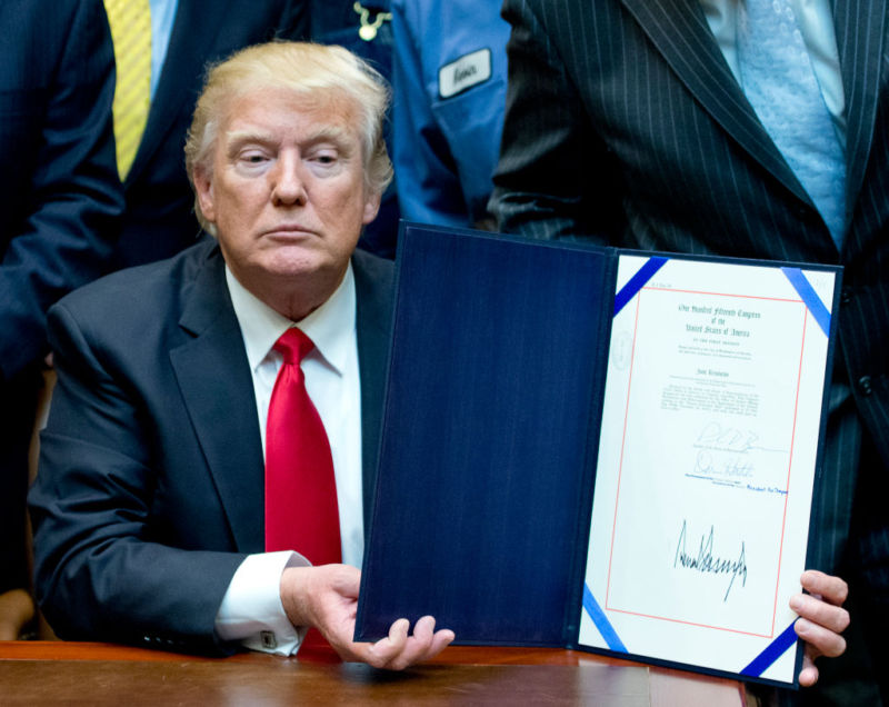 "Donald Trump signs H.J. Res. 38, disapproving the rule submitted by the US Department of the Interior known as the Stream Protection Rule. The Department of Interior's Stream Protection Rule, which was signed during the final month of the Obama administration, ""addresses the impacts of surface coal mining operations on surface water, groundwater, and the productivity of mining operation sites."""