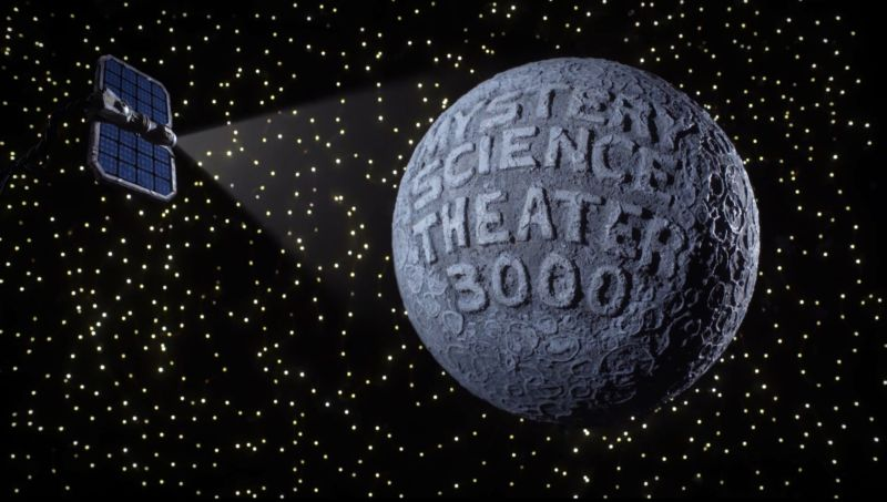 Screenshot from Mystery Science Theater 3000's opening credits in which the show's title is projected an unconvincing moon.