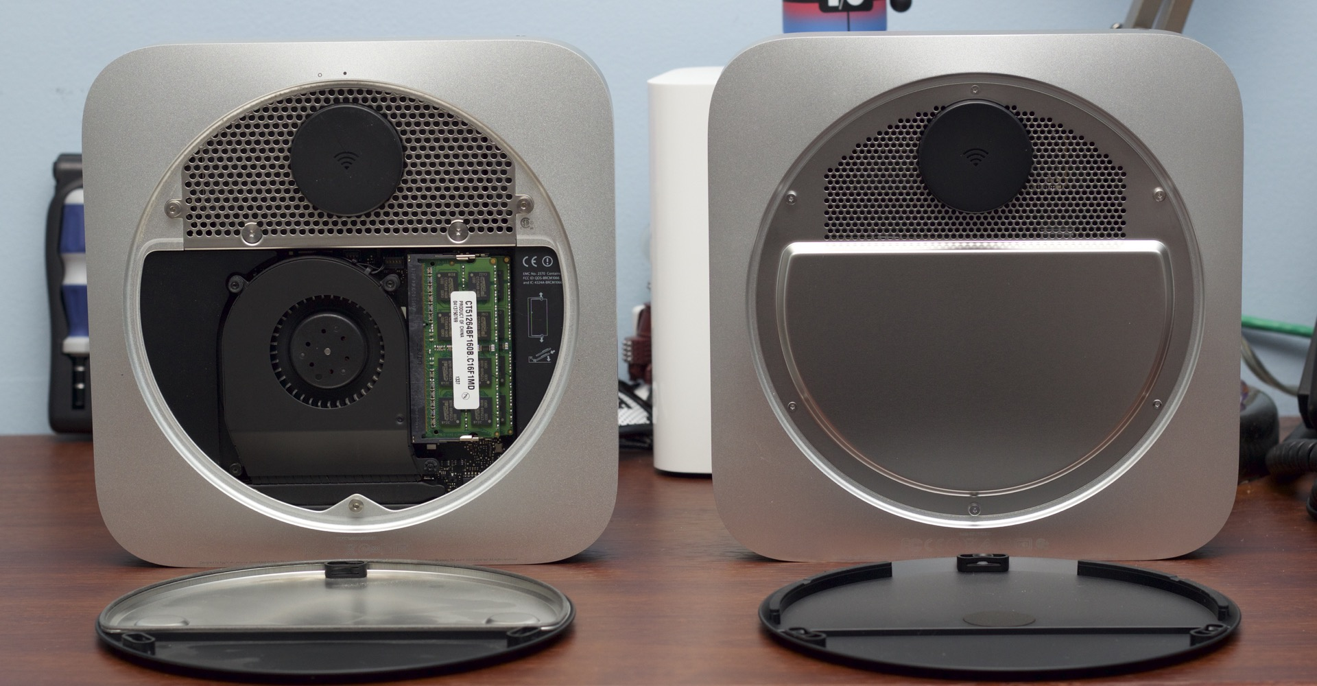 The upgradeable 2012 Mac Mini on the left; the sealed (and most current) 2014 Mac Mini on the right. Desktops don't need to be this way.