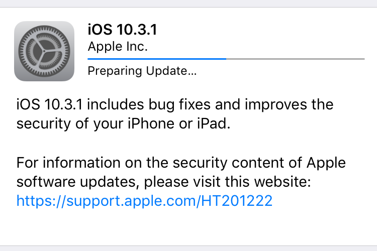 iOS 10.3.1 includes bug fixes and improves the security of your iPhone or iPad