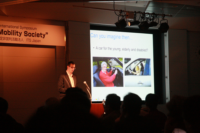 Anthony Levandowski giving a presentation in Japan in 2011, when he worked for Google.