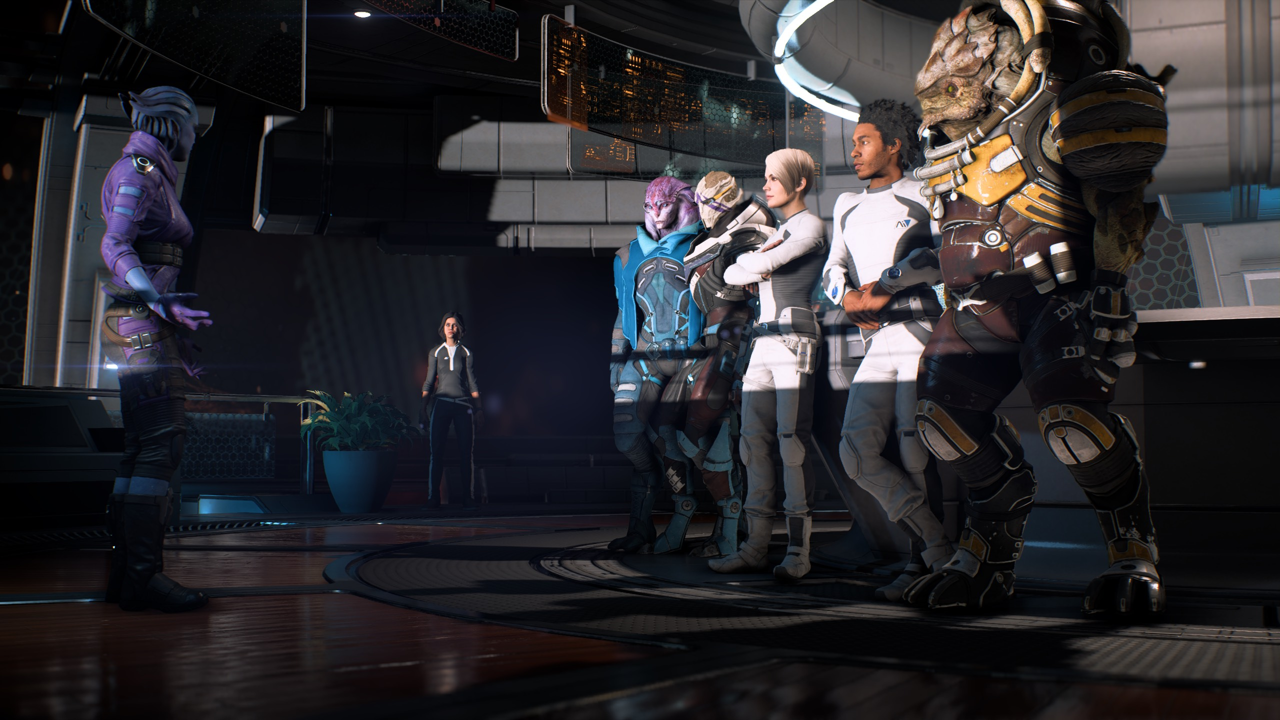 "Peebee pitches ""Asari, Not Sorry"" to the crew. They are less than impressed."