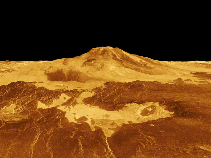 Maat Mons, one of the volcanoes of Venus, in a model created with radar data from the Magellan mission.