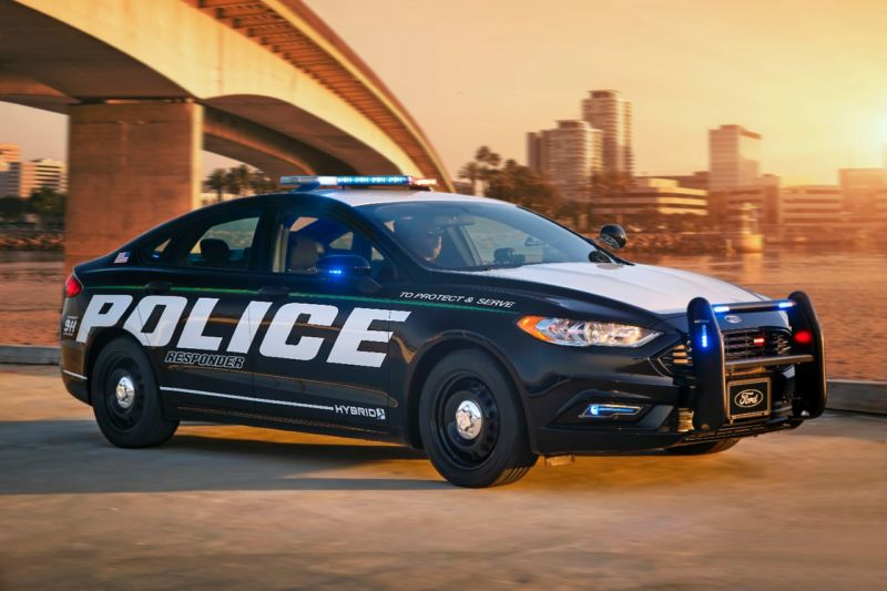 The most recent graduate from Ford's police academy, the Police Responder Hybrid Sedan.