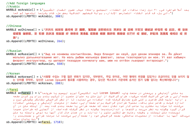 A screenshot of foreign language samples used by a CIA tool to hide the nation of origin of CIA code implants, leaked on Friday by WikiLeaks.