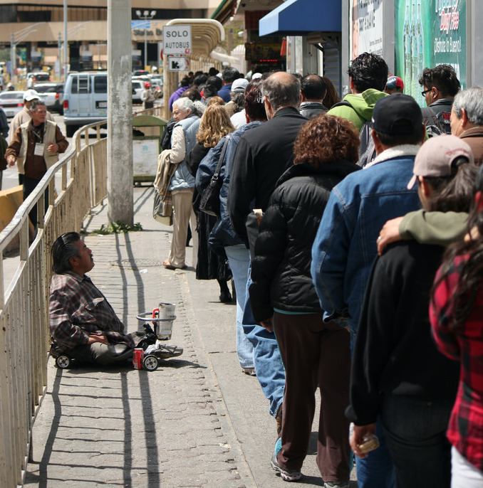 Pedestrians crossing the northbound US border from Tijuana, Mexico, to San Ysidro, California. People crossing the border are subject to having their electronics searched by US authorities. No warrant is needed.