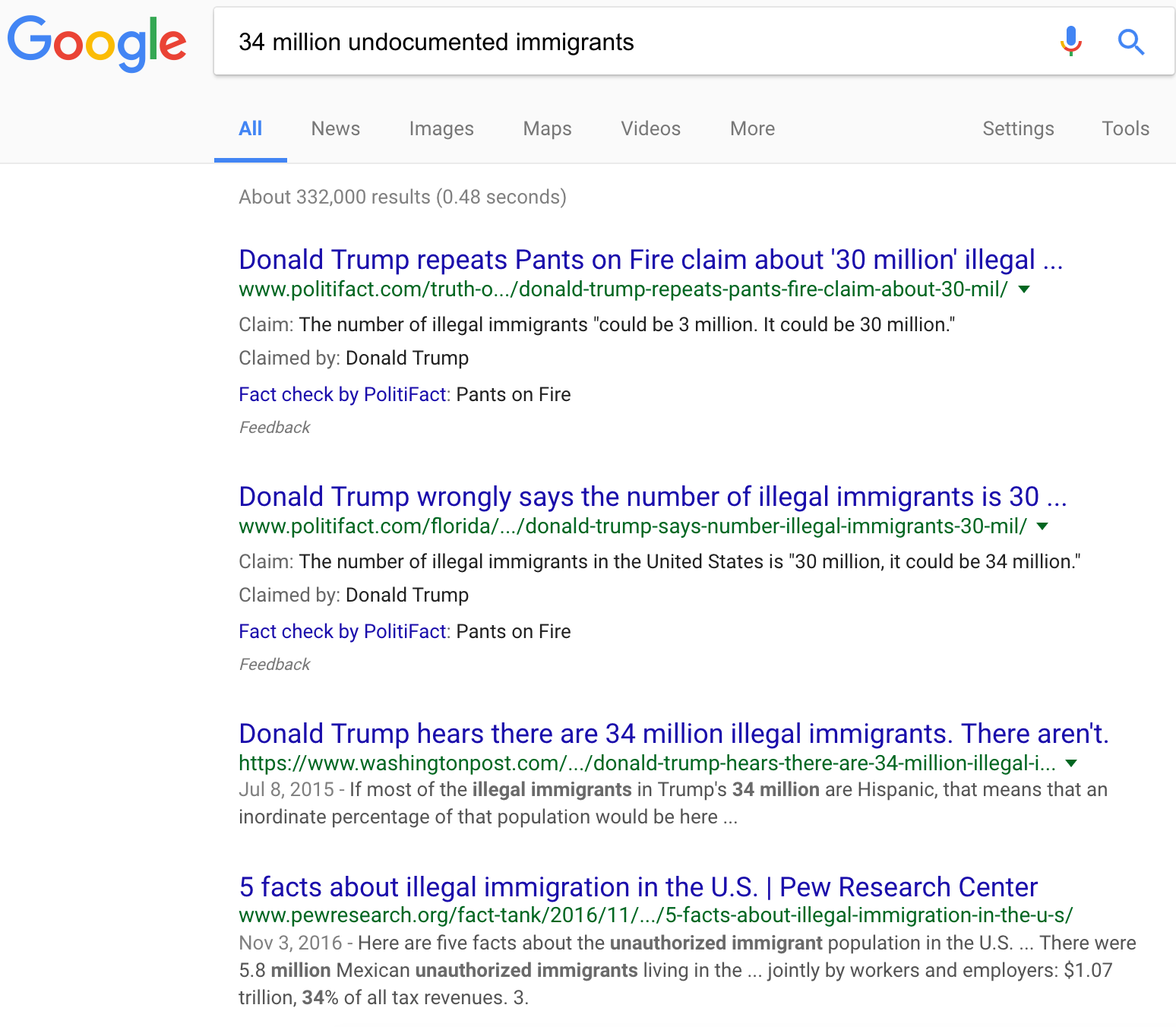 A sample of how Google's new fact-check system looks in action.