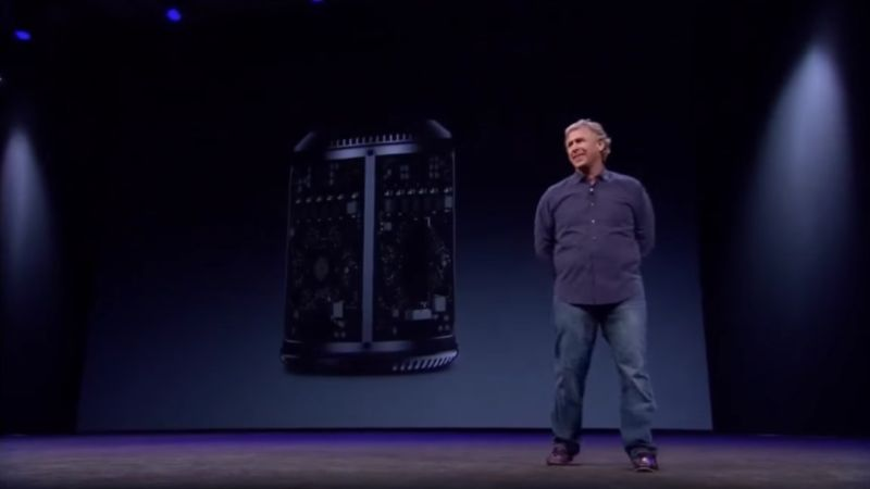 Apple's Phil Schiller takes the wraps off the new Mac Pro at WWDC in 2013.