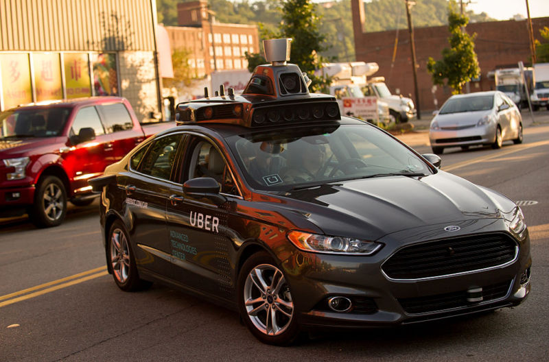 An Uber driverless Ford Fusion in Pittsburgh in 2016. Cars like this will soon be legal for commercial use in California.